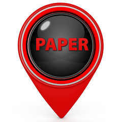 Paper pointer icon on white background