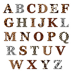Set of alphabet letters with animal fur patterns