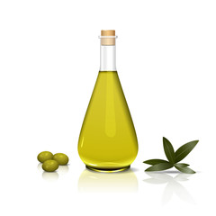 bottle of olive oil and a branch