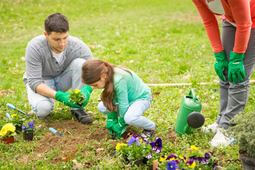 Family planting flowers