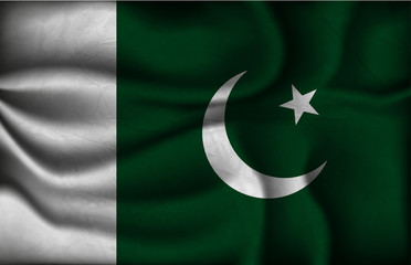 crumpled flag of Pakistan on a light background