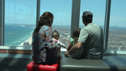 Visitors family visit in Q1 Building SkyPoint Observation Deck