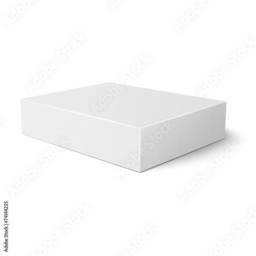 White flat paper box template. - 74144235