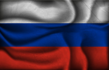 crumpled flag of Russia on a light background
