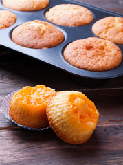 Homemade muffins with tangerines