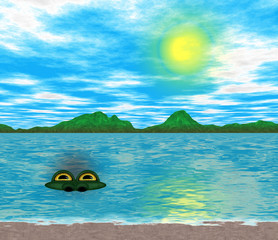 Water monster in the lake
