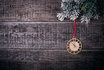 clock on the wooden background