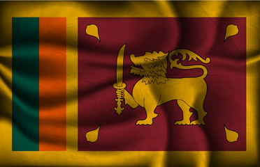 crumpled flag of Sri Lanka on a light background