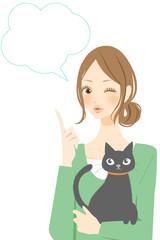 猫と女性 ふきだし