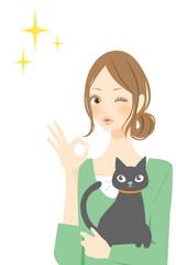 猫と女性 マル