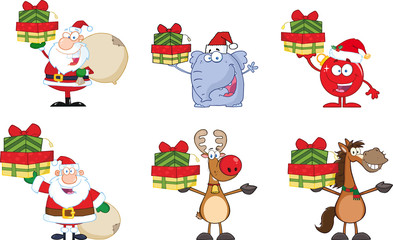 Christmas Cartoon Characters. Collection Set