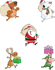 Running Christmas Cartoon Characters. Collection Set