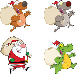 Santa Claus And Animals Running With Bag. Collection Set