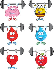 Mascot Character Lifting Barbell.  Collection Set