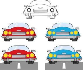 Convertible Retro Car. Collection Set