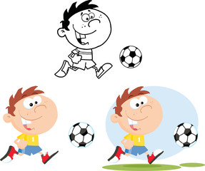 Boy Running With Soccer Ball. Collection Set
