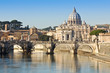 Bridge, basilica and the river Tiber in Rome