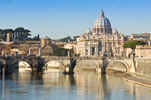 Fototapeta Bridge, basilica and the river Tiber in Rome