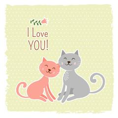 Cute cats valentine card