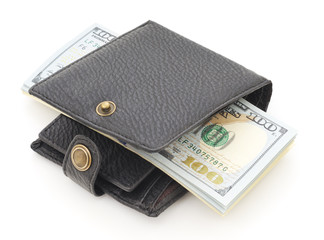 Wallet with dollars.