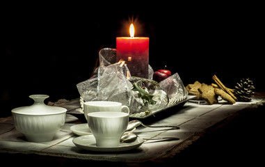 Christmas still life composition on a black background
