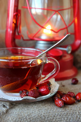 Cup of tea from the hips and lantern.