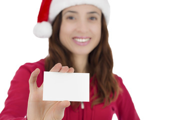 Santa woman with a sign card