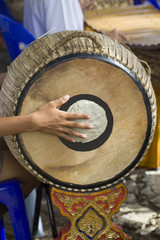 Drummer in a traditional thai musical band