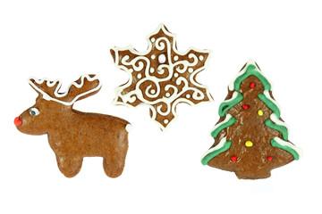 christmas gingerbread- christmas tree, snowflake and reindeer