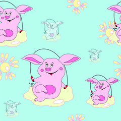 seamless pattern. pig jumping. vector illustration