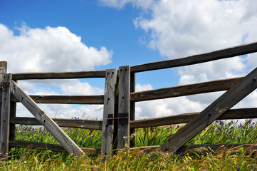 Wooden gate in the countryside