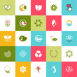 Set of flat design icons for beauty and nature