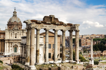 Ruins of the Temple of Saturn in the Roman Forum.