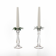 Glass candlesticks isolated