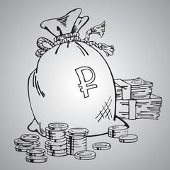 Bag of money, lot of money, bank, coins, vector illustration