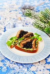 Christmas food  beluga caviar on a bread