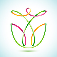 Swirly figure with a flower