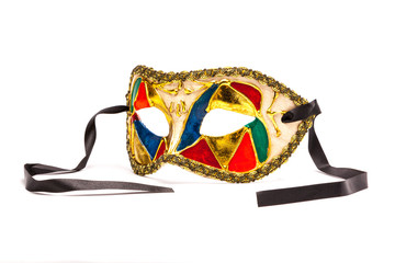 Colorful Mardi Gras Mask on white background with black ribbon (
