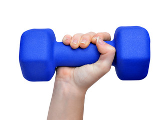 Hand holding blue fitness dumbbell