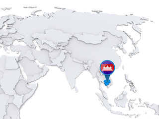 Cambodia on a map of Asia