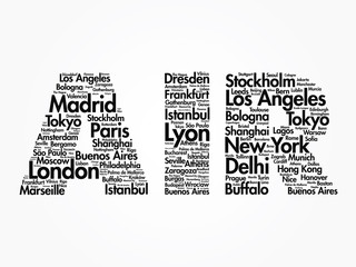 AIR travel concept made with words cities names, vector collage