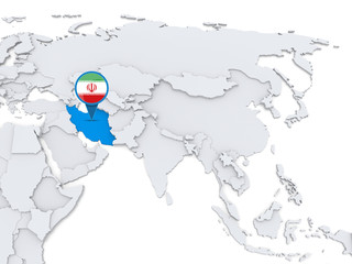 Iran on a map of Asia