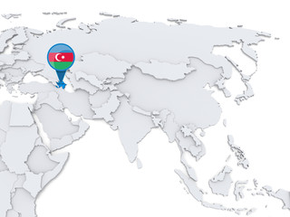 Azerbaijan on a map of Asia