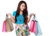 happy shopping girl with many shoping bag