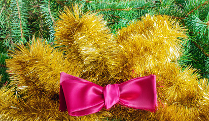 Male bow tie burgundy, gold tinsel and spruce branches