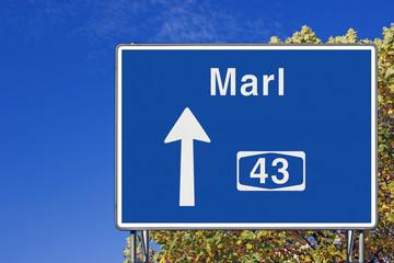 Wegweiser auf A 43, Richtung Marl