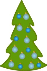 Christmas tree with blue decorations