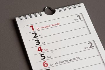 Kalender - Neujahr - Neubeginn - Jahresanfang - Januar