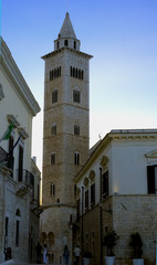 The bell tower of Trani cathedral at twilight, apulia. Italy