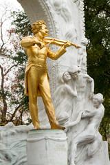Statue of Johann Strauss  in Stadtpark, Vienna, Austria.